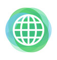 globe icon above abstract green and blue circles vector image