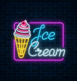 glowing neon sign of ice cream with cherry on vector image