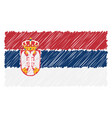 hand drawn national flag of serbia isolated on a vector image vector image