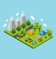 isometric summer camping concept vector image vector image
