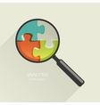 Magnifier and puzzle vector image vector image