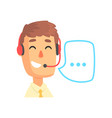 male call center agent and speech bubble online vector image
