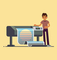 man worker at plotter printing wide format large vector image