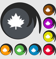 Maple leaf icon Symbols on eight colored buttons vector image vector image