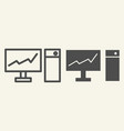 monitor with graph on the screen line and glyph vector image vector image