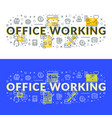 office working flat line concept for web banner vector image