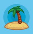palm tree on beach in sand vector image