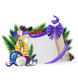 paper scroll with purple bow candles and vector image