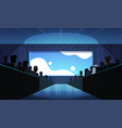 people group sitting cinema rows back rear view vector image