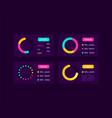 pie charts ui elements kit vector image