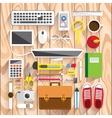 Realistic workplace organization vector image vector image