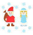 santa claus and snow maiden vector image vector image