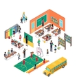 School Concept in Isometric Projection vector image