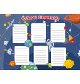 School timetable with space design Lesson plans vector image