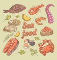 sea food hand drawn doodle with fish crab vector image vector image
