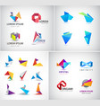 set abstract blue origami 3d logos vector image