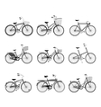 Set of retro bicycles silhouettes vector image vector image