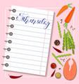 sheet of diet plan vector image vector image
