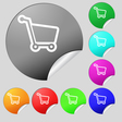 Shopping cart icon sign Set of eight multi colored vector image vector image