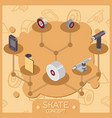 skate color isometric concept icons vector image vector image