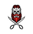 skull hair and beard scissors mascot vector image vector image