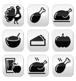 thanksgiving day food buttons set - turkey pumpkin vector image vector image