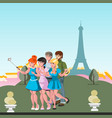 tourists friend make selfie by eiffel tower vector image vector image