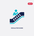 two color escalator down icon from accommodation vector image