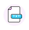 txt file format extension color line icon vector image