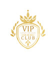 vip club logo design luxury elegant golden badge vector image vector image