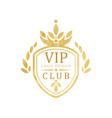vip club logo design luxury elegant golden badge vector image