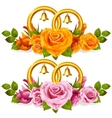 wedding rings and roses vector image vector image