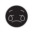 weeping emoji emoji black concept icon vector image vector image