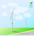 wind turbines on the background of field and road vector image