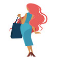 woman with long red hair and shopping bag vector image