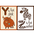 Children Alphabet with Funny Animals Yak and Zebra vector image