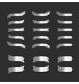 Set of silver ribbons on black vector image