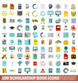 100 scholarship book icons set flat style vector image vector image