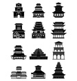 Ancient chinese architecture buildings icons set vector image vector image