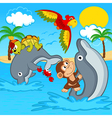 animals riding on dolphins vector image vector image