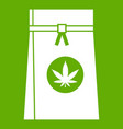 bag with cannabis icon green vector image vector image