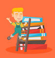 boy climbing up a ladder on the pile of books vector image vector image
