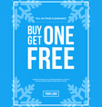 buy one get one off sign winter sale vector image vector image