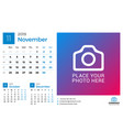 calendar for november 2019 design print template vector image