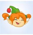 cartoon christmas girl elf head icon vector image
