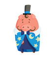 cartoon pig in magicians clothing vector image vector image