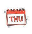 cartoon thursday calendar page icon in comic vector image