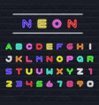 color neon english alphabet set letters and vector image vector image