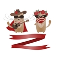 Couple of funny valentine cats Zorro cat and his vector image vector image