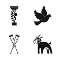 Cup pigeon and other web icon in black style